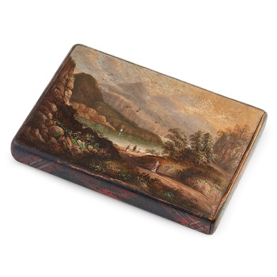 Lot 35-ROBERT BURNS INTEREST - A MAUCHLINE TARTANWARE AND PAINTED CARD CASE