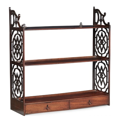 Lot 48 - GEORGE III MAHOGANY 'CHINESE CHIPPENDALE' HANGING SHELVES