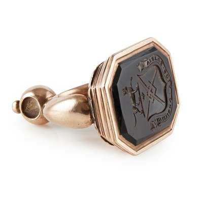 Lot 182 - An early 19th century gold mounted large fob seal