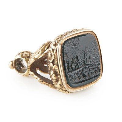 Lot 179 - An unusual 19th century gold mounted fob seal
