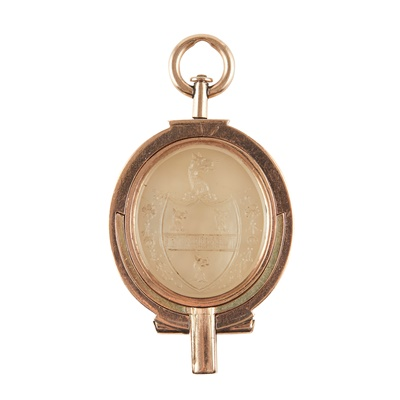 Lot 174 - A scarce late George III rose gold mounted swivel seal with integral watch key