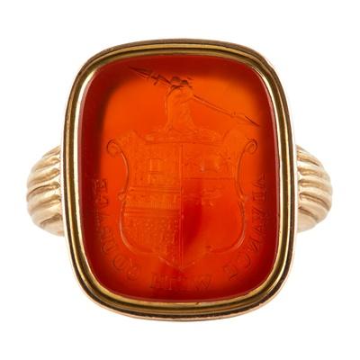 Lot 164 - An early 19th century gentleman's armorial cornelian ring