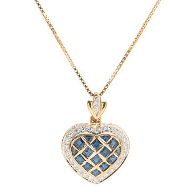 Lot 76 - A sapphire and diamond set heart shaped pendant