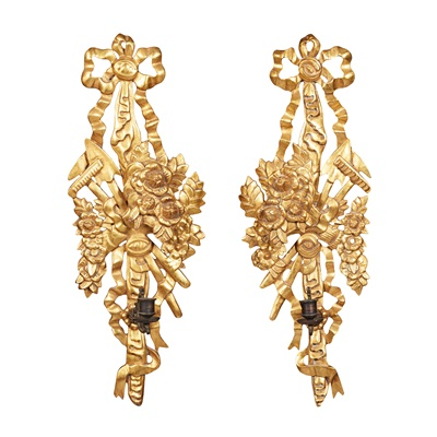 Lot 29 - PAIR OF GILTWOOD WALL SCONCES