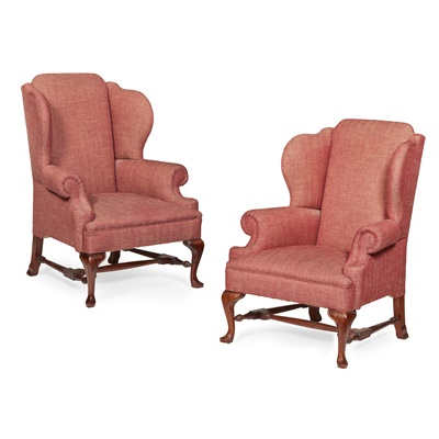 Lot 5-PAIR OF GEORGE I STYLE WING ARMCHAIRS