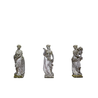 Lot 620 - THREE COMPOSITION STONE FIGURES OF THE SEASONS AND PEDESTALS