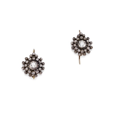 Lot 123 - A pair of mid 19th century diamond cluster earrings