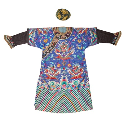 Lot 11-BLUE GROUND SILK EMBROIDERED COURT ROBE
