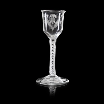 Lot 376 - A RARE 'SUCCESS TO THE SOCIETY' JACOBITE WINE GLASS