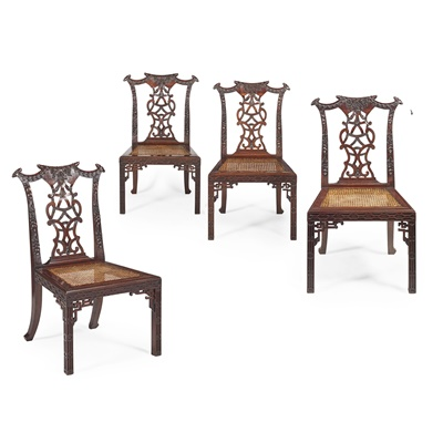 Lot 44 - SET OF FOUR CHINESE EXPORT PADOUK 'CHIPPENDALE' SIDE CHAIRS