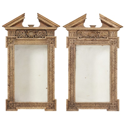 Lot 23-PAIR OF GEORGE II STYLE CARVED PINE PIER MIRRORS