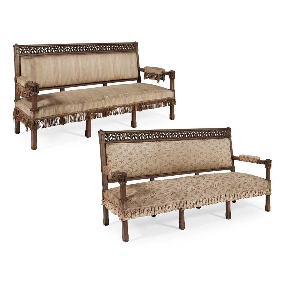 Lot 6 - PAIR OF GOTHIC REVIVAL OAK HALL SEATS