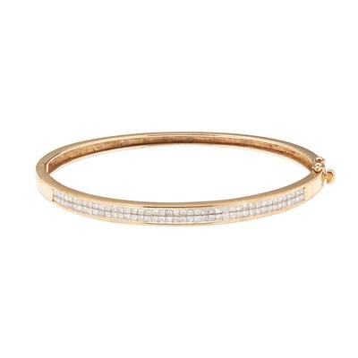 Lot 73 - A 9ct gold diamond set bangle