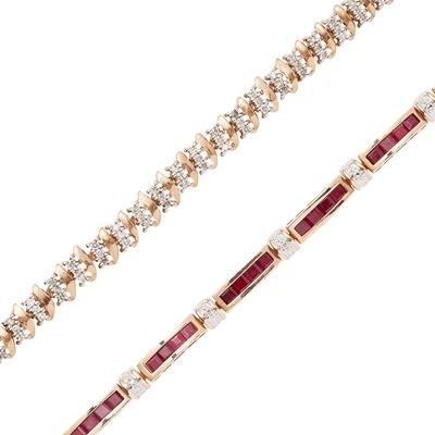 Lot 84 - A 9ct gold ruby and diamond set bracelet