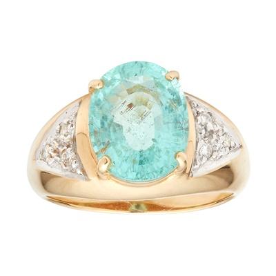 Lot 93 - An 18ct gold Paraiba-type tourmaline and diamond set ring