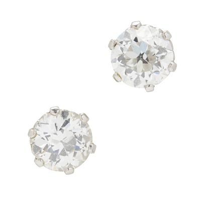 Lot 110 - A pair of diamond set ear studs