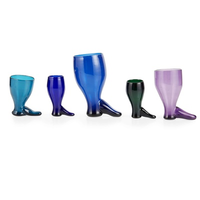 Lot 172 - GROUP OF COLOURED GLASS BOOT-FORM STIRRUP CUPS
