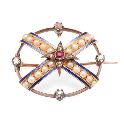 Lot 86 - A multi-gem set brooch