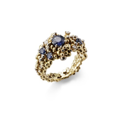 Lot 77 - A sapphire and diamond-set ring, by Charles de Temple, 1968