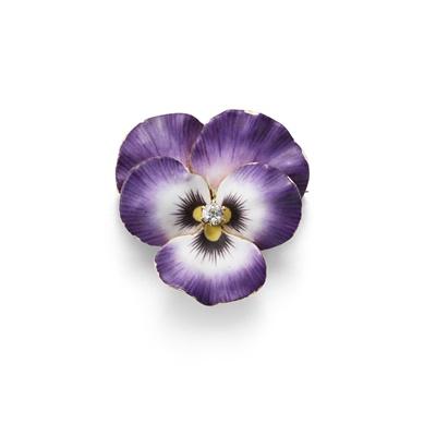 Lot 1 - An enamel and diamond pansy pendant/brooch