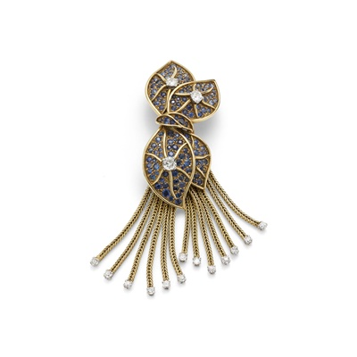 Lot 39 - A mid 20th century sapphire and diamond brooch, by Fringhian