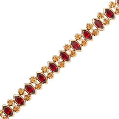 Lot 7-A garnet and citrine set bracelet