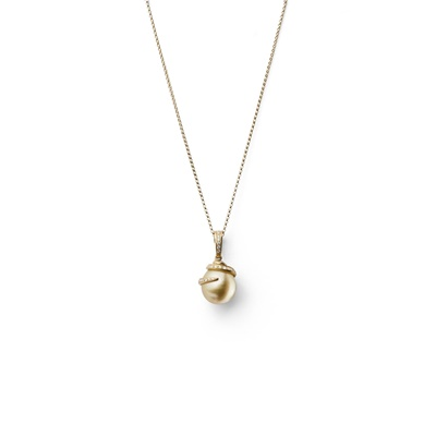 Lot 92 - A cultured pearl and diamond pendant