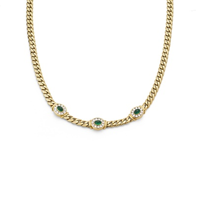 Lot 9 - An emerald and diamond-set necklace
