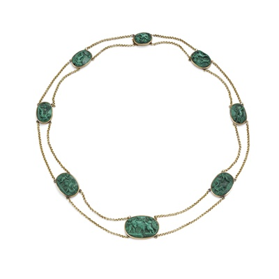 Lot 99 - An Italian malachite cameo necklace, first half of the 19th century