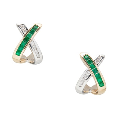 Lot 22-A pair of emerald and diamond set earrings
