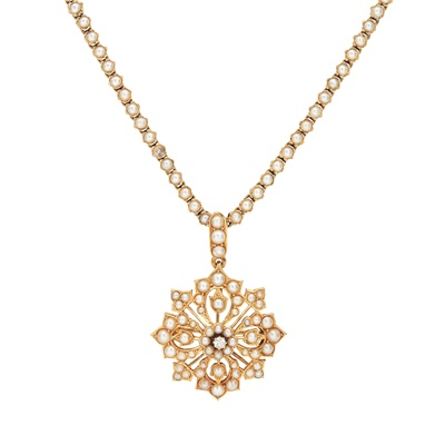 Lot 81 - A Victorian seed pearl and diamond set pendant necklace