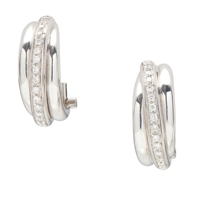 Lot 48 - A pair of 18ct white gold and diamond set earrings