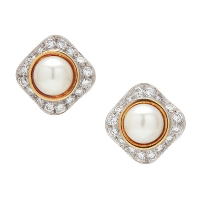 Lot 17-A pair of diamond and cultured pearl set earrings