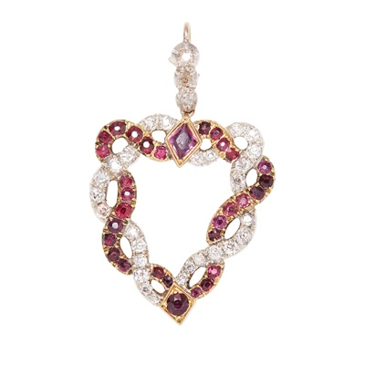 Lot 87 - A late-18th/early-19th century diamond and ruby set pendant