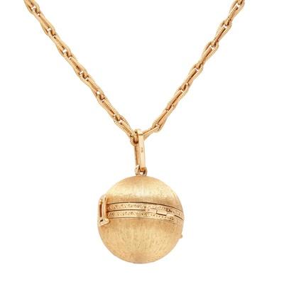 Lot 79 - An 18ct gold mid-century globular locket, Cartier