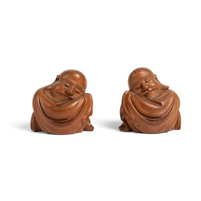 Lot 1-PAIR OF CARVED BOXWOOD FIGURES OF BUDAI