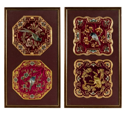 Lot 9-FOUR FRAMED EMBROIDERY PANELS