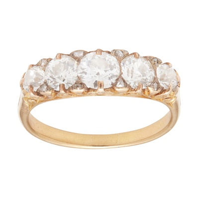 Lot 13-A five stone diamond set ring