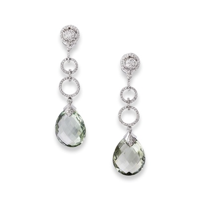 Lot 82 - A pair of aquamarine and diamond earrings