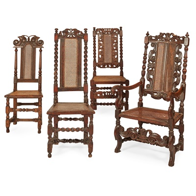 Lot 10-FOUR WILLIAM AND MARY WALNUT CHAIRS