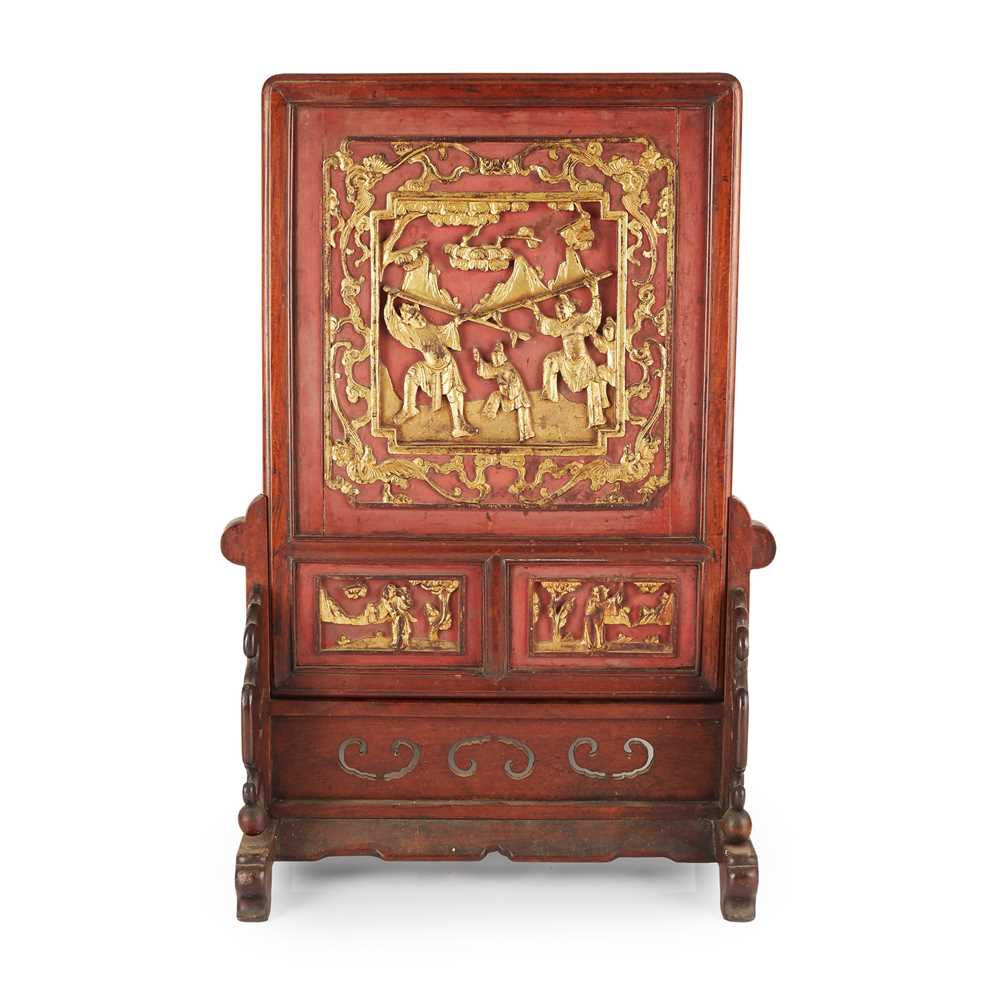 Lot 12-RED AND GOLD CARVED WOODEN TABLE SCREEN