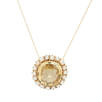 Lot 10-A chrysoberyl and seed pearl pendant