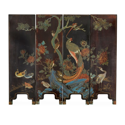 Lot 13-HARDSTONE INLAID AND LACQUER FOUR-FOLD SCREEN