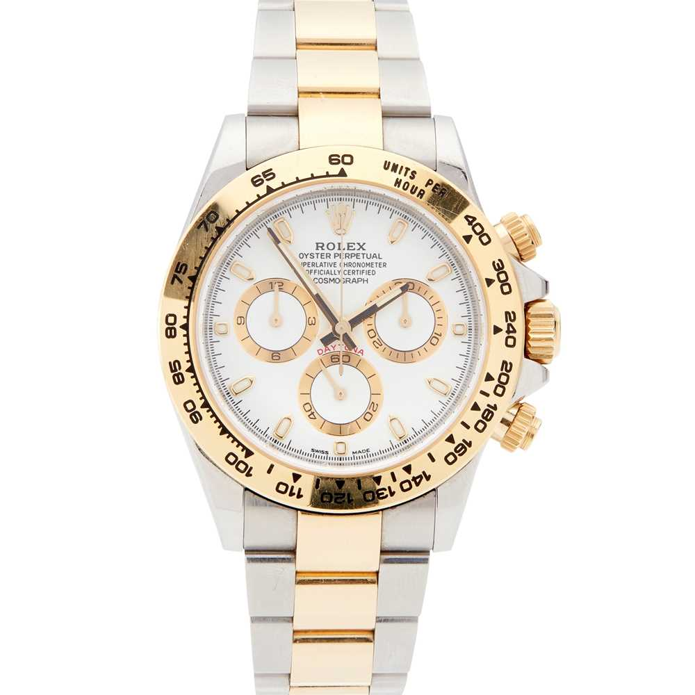 Lot 42 - A bi-metallic Oyster Perpetual Cosmograph Daytona wristwatch, by Rolex