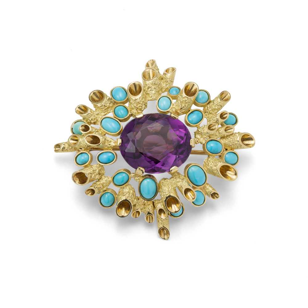 Lot 68 - An amethyst and turquoise brooch, by John Donald, 1965