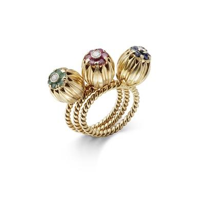 Lot 14 - A set of three gem-set stacking rings