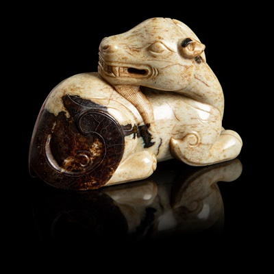 Lot 73 - 'CHICKEN BONE' JADE CARVING OF A GOAT