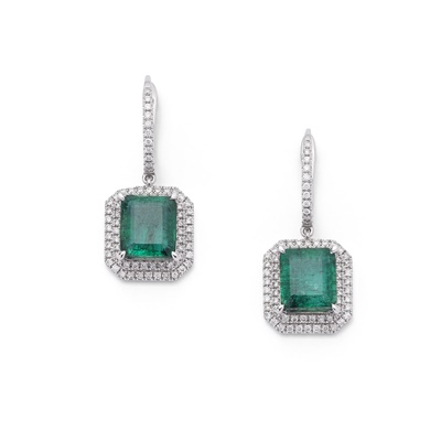 Lot 84 - A pair of emerald and diamond earrings