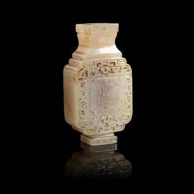 Lot 80 - MINIATURE CELADON JADE CARVING OF A SQUARE-SECTIONED VASE