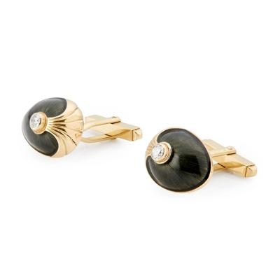 Lot 77 - A pair of 18ct gold enamel and diamond set cufflinks